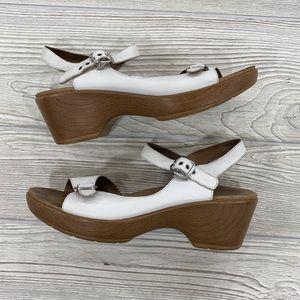 Dansko White Leather Buckle Sandals - sz 40